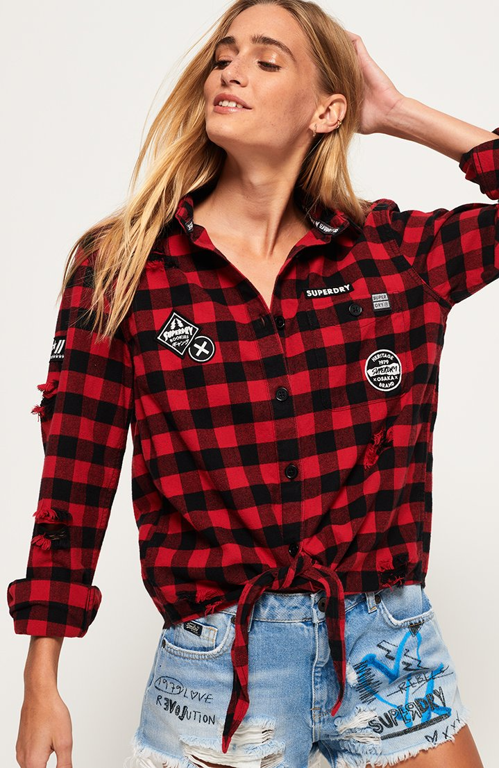 Zephyr Check Tie Front Shirt