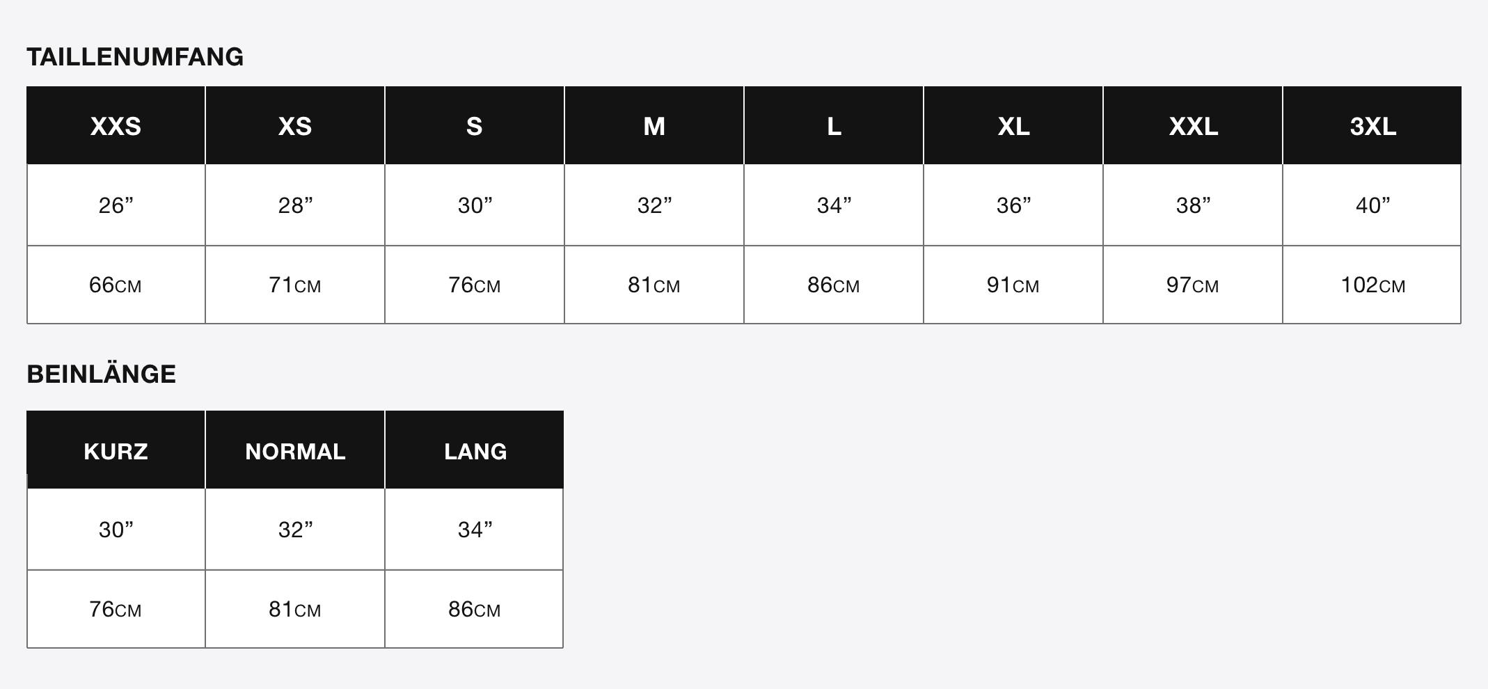 Superdry size information (desktop)
