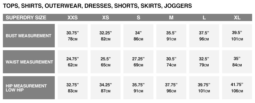 Superdry size guide