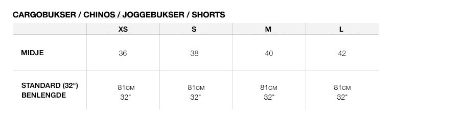 Superdry størrelsesguide