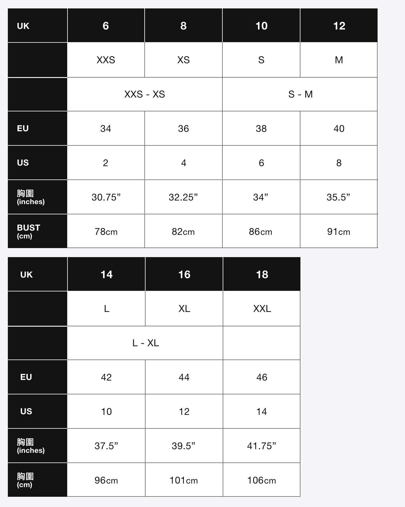 Superdry Size Guide (Mobile)